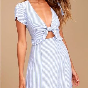 Seaport Light Blue and White Striped Dress